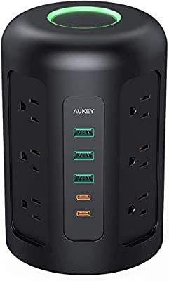 AUKEY Power Strip Tower, Surge Protector with 2 USB C Ports, 3 USB Ports, 12 AC Outlets and 5ft Power Cable, Charging Station for Smartphone Tablet Laptops Power Banks Home Office
