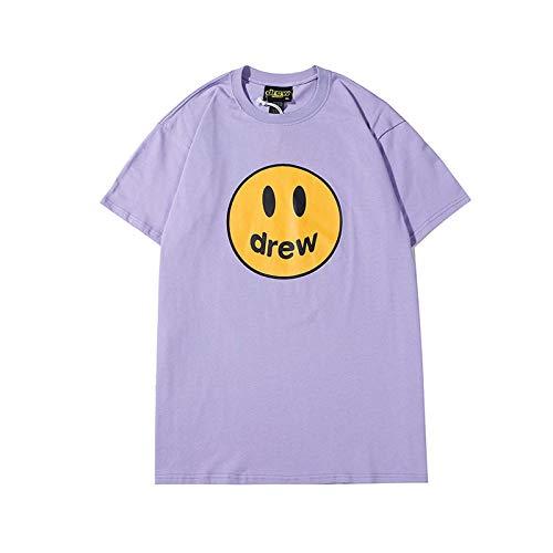 Drew House T-Shirt Bieber Smiley Face Shirt Casual Short Sleeve Shirts Trend Fashion Tee Top for Men Women Youth (Purple,XL)