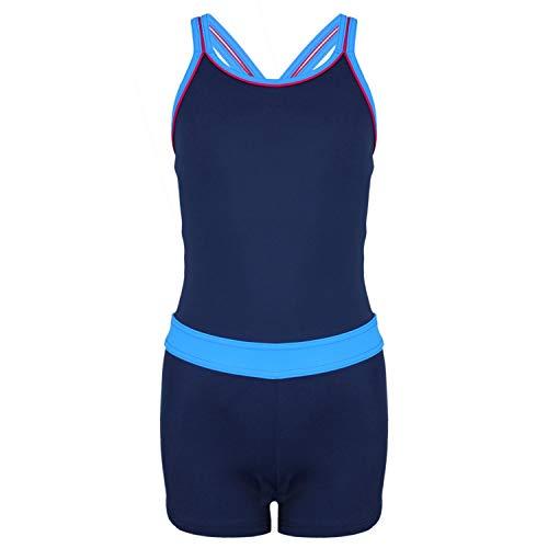 Aquarti Mädchen Badeanzug mit Bein Racerback, Farbe: Dunkelblau/Blau, Größe: 140
