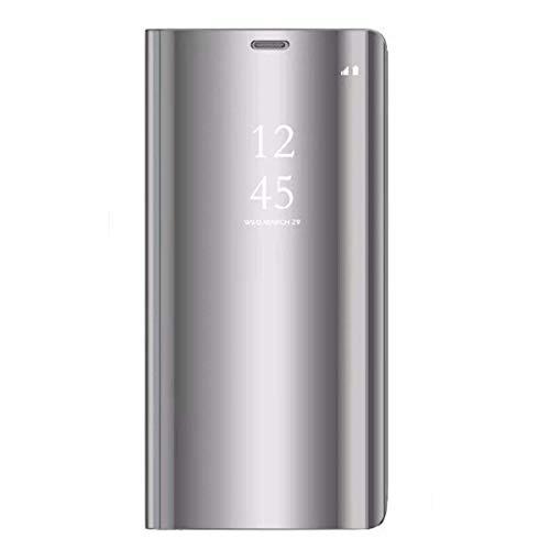 Alsoar Cover Compatibile per [Huawei Mate 10 Lite] Clear View Specchio Standing Cover Slim Flip Custodia Portafoglio Elegante Smart Case (Argento, Mate 10 Lite)