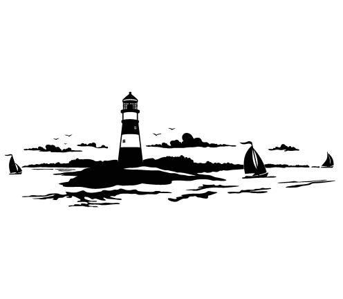 Pegatina Promotion Leuchtturm mit DREI Segelboote und Landschaft 30 cm Aufkleber Sticker Autoaufkleber Wandtattoo Surf Kite Surfen Wassersport Fun Sea