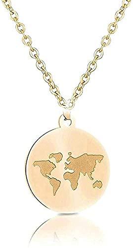 BEISUOSIBYW Co.,Ltd Halskette Edelstahl Halsketten Frauen Weltkarte Bee Mountain Halskette Anhänger Für Frauen Mädchen Reisen Geschenke Weibliches Geschenk