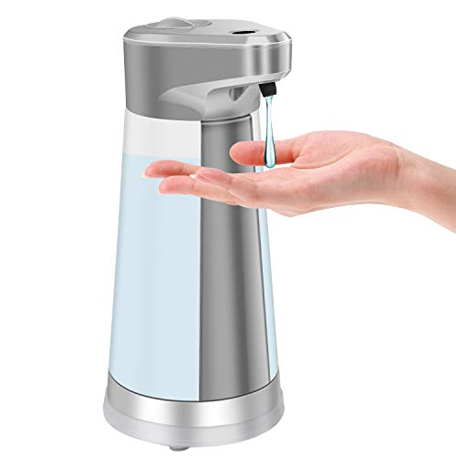 Soap Dispenser, Touchless Automatic Soap Dispenser Equipped w/Infrared Motion Sensor Waterproof Base Adjustable Switches Suitable for Bathroom Kitchen Hotel Restaurant