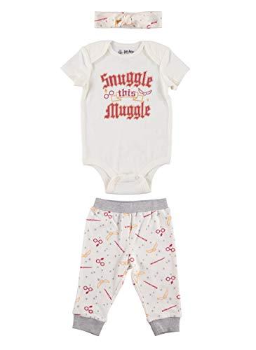 Harry Potter Conjunto de pantalones y diadema para bebé, color blanco, 0-3 meses