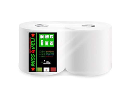 2 ROTOLONI Carta Miss 4 VELI ASCIUGATUTTO 1000 Strappi Ideale per Uso Industriale E Alimentare, CALANDRATA,Compatibile con Dispenser