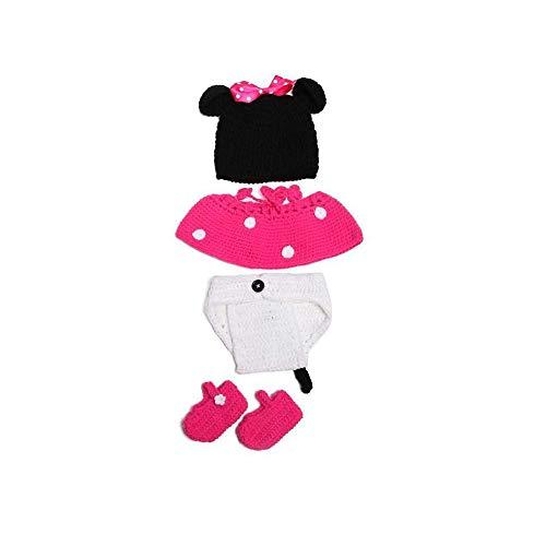 Ogquaton 1 Unidades Bebé Mickey Suit Adorable Crochet Ropa para bebés Set Creative Photo Props Ropa para bebés y niñas Desgaste