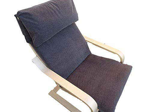 Kissen für Schaukelstuhl Typ Pello oder Poang IKEA. Hergestellt aus hochwertigem Polsterstoff. Sitz 57 x 50 Rücken 57 x 70, 8 cm dick (Dunkelgrau)