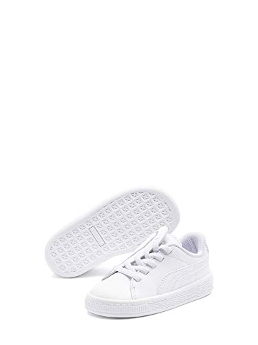 Puma Basket Crush AC Inf, Zapatillas para Bebés, Blanco White Silver 1, 21 EU