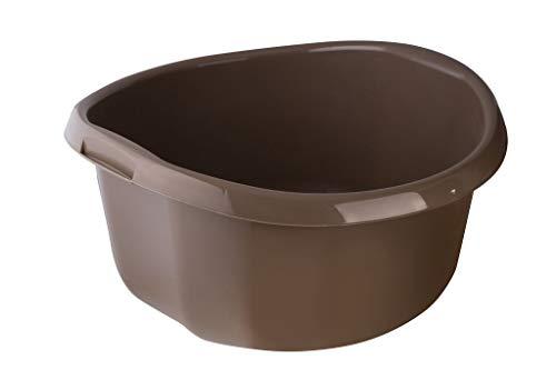 KADAX Runde Kunststoffschüssel. Becken tief und robust. Schüssel, Waschschüssel, Spülwanne Groß Eignet Sich hervorragend für das Badezimmer, den Waschraum, die Küche und das Haus (Braun, 25L)