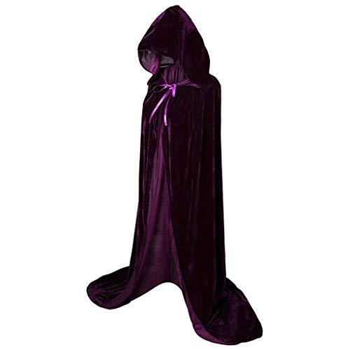 Geilisungren Unisex Weihnachten Halloween Kostüm Karneval Fasching Costume Maskenball Cosplay Vampir Lang Einfarbige Umhang Cape mit Kapuze für Damen Herren Erwachsene(Lila,S)