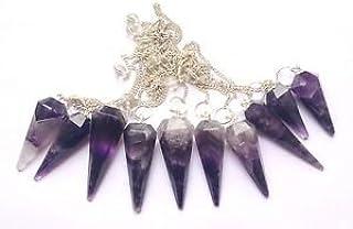 CRYSTALMIRACLE Powerful Ten Amethyst Dowser Pendulums Crystal Healing reiki feng shui men women Gift positive Energy chakr...
