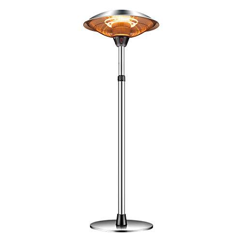 MYRCLMY Tischplatte Elektrischer Terrassenheizung Mit Wasserdichter Abdeckung, Freistehender Infrarot-Garten-Heizheizung, 3 Temperaturniveaus Einstellbar, 160-210 cm Höhenverstellbar,2200w