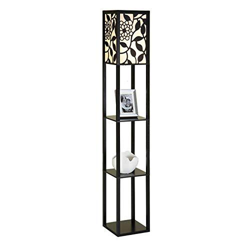 QIANGUANG Iluminación interior Lámpara de pie de madera de 1,6 m con estantes para dormitorio y sala de estar (sin bombilla) (Nuevo Negro)