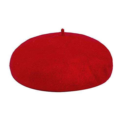 Homeofying Wintermode Frauen Einfarbig Warme Beanie Cap Einstellbare Slouch Baskenmütze Hut Zeitungsjunge Caps Französisch Baskenmütze rot