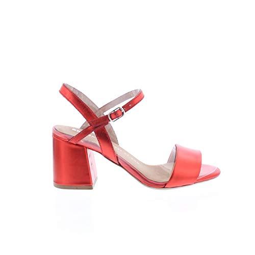 Bronx Sandaletten Jagger 84495-G Metallic Leder Riemchen Sandalen, Schuhgröße:37 EU, Farbe:Rot