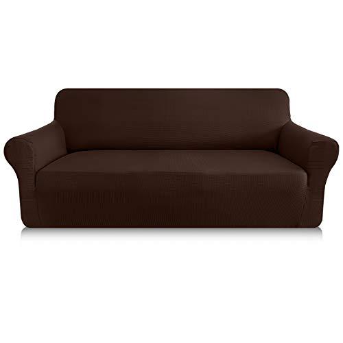 Granbest Sofabezug, dick, 1 Stück, dehnbar, 4-Sitzer, rutschfest, für Sofa, Möbelschutz, Stoff Spandex Jacquard (4-Sitzer, Schokoladenbraun)