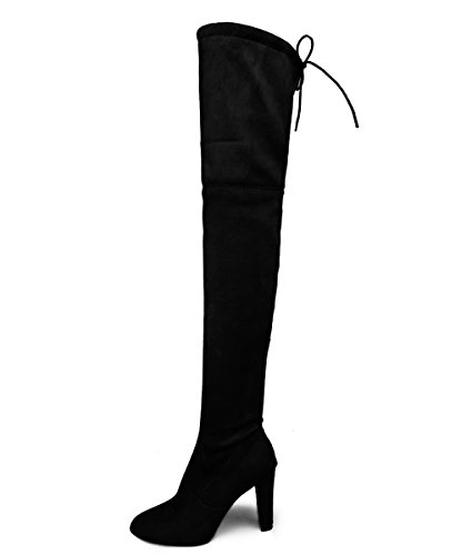 Minetom Basic Damen Overknees Schleifen Stiefel Velours Samt Schuhe Flach Langschaftstiefel Overknee Boots Blockabsatz Schwarz EU 40