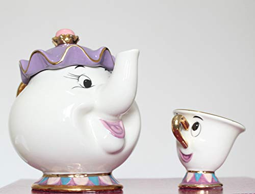 QVBokay New Cartoon Beauty and The Beast Teiera Mug Mrs Potts Chip Tea Pot Tazza Un bel regalo per la casa ragazza