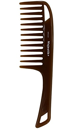 Weit gezahnter Haarkamm mit Arganöl infundiert und bequemem Handgriff - Entwirrt dickes und lockiges, mittellanges bis langes Haar in Braun