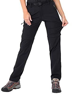 MIER Women's Quick Dry Convertible Cargo Pants Lightweight Stretchy Hiking Travel Pants, 5 Zip Pockets, Water Resistant, Black, 6