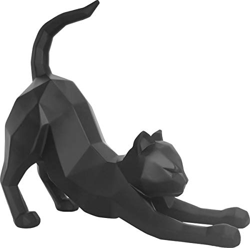 Present Time - Statue Chat Stretching Noir Origami