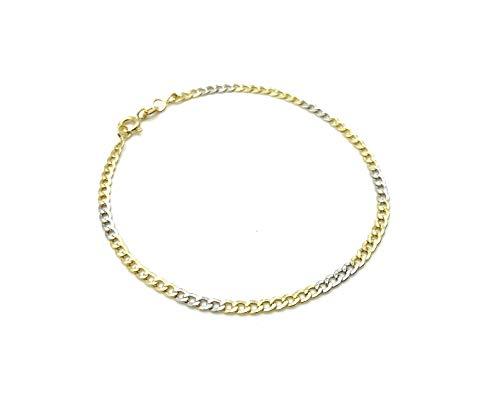 Pulsera de oro amarillo y blanco 18 quilates 20 cm de largo