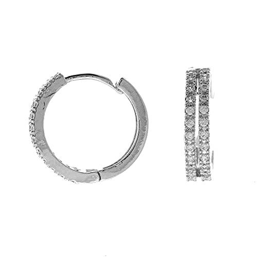 Córdoba Jewels   Pendientes en Acero con diseño Aritos Doble Zirconium Silver