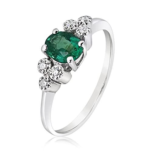 MILLE AMORI ∞ - Anillo de compromiso para mujer de oro y diamante y esmeralda natural ∞ oro blanco de 9 quilates 375 diamante 0,07 Kts esmeralda 0,30 Kts