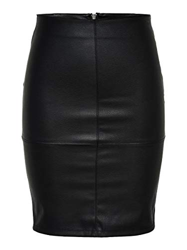 ONLY Damen Onlcelina Faux Leather Midi Skirt OTW Rock, Schwarz (Black Black), Large (Herstellergröße: 40)