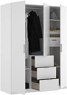 HABITMOBEL Armario Juvenil 3 Puertas abatibles + 3 cajones 135 cm de Ancho Alto 204cm Color Blanco Brillo