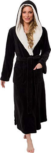 Silver Lilly Full Length Hooded Long Robe - Women's Luxury Plush Bathrobe w/Sherpa Trim Collar (Black, Small/Medium)