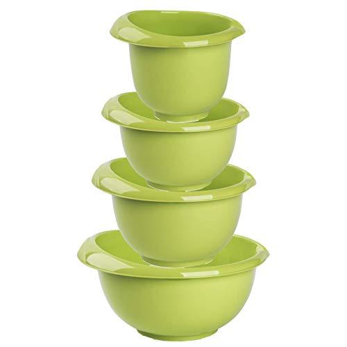 Backschüsseln Rührschüssel Quirltopf Salatschüssel stapelbar rutschfest Silikonfüße Einhandgriff Ausgießer Kunststoff 4er-Set