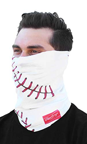 Rawlings Multi-Functional Face, Neck and Head Gaiter - White Baseball Stitched