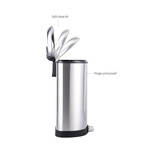 Amazon Basics 50 Liter / 13.2 Gallon Soft-Close Trash Can with Foot Pedal - D-Shaped, Stainless Steel