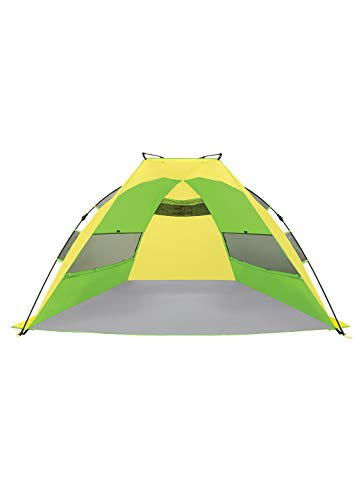 RBX Quick Setup Family Size Beach And Activity Tent   Water Resistant   Sun Shelter (Green and Yellow)