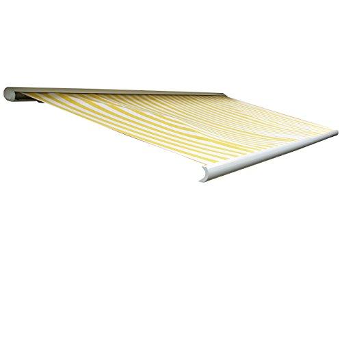 Mendler Elektrische Kassettenmarkise T123, Markise Vollkassette 4,5x3m - Polyester Gelb/Weiß
