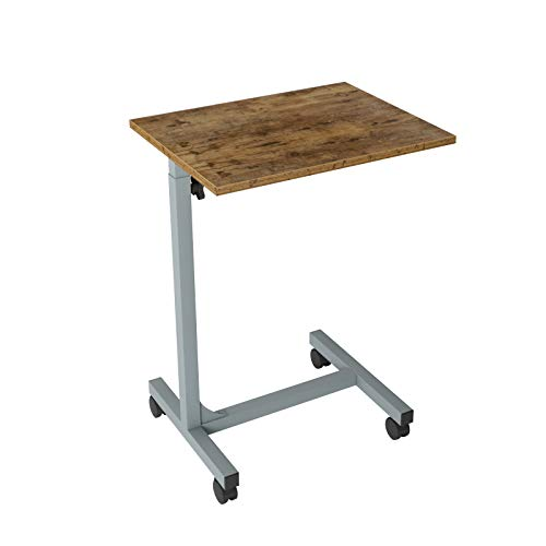 sogesfurniture Adjustable Height Laptop Table with Casters, Mobile Computer Stand Desk Portable Side Table for Bed Sofa,48x37.5x67-79cm BHEU-YL-D5001