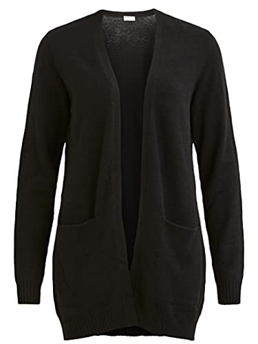 Vila Clothes Viril L/s Open Knit Cardigan-Noos Gilet, Noir (Black), 42 (Taille Fabricant: X-Large) Femme