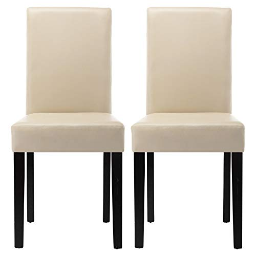 LSSPAID Dining Chair, Leatherette Padded Parson Chairs with Solid Wood Legs,Kitchen Chairs (White)