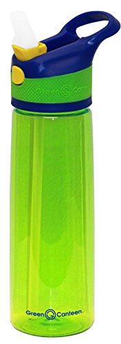 Green Canteen Einwandige Tritan-Kunststoff-Flasche mit blau-grünem Druckknopf-Klappverschluss mit gelben Akzenten, 680 ml