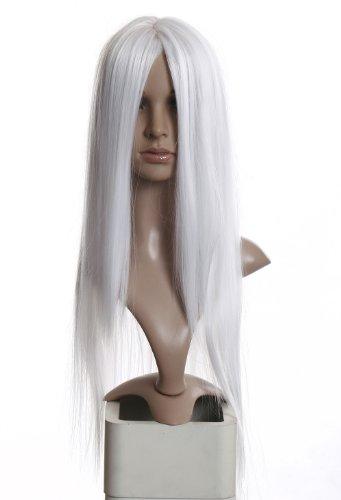 Prettyland C875-80cm lange Damen Perücke Mittelscheitel Wig Cosplay Hitzefest Weiß Schneeweiß