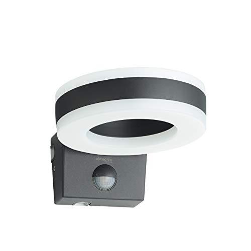 Oktaplex Lighting LED Außenlampe mit Bewegungsmelder Porto 15W | Außenleuchte IP65 anthrazit | Außenbeleuchtung Haus Außen Wand Wandleuchte 3000K Warmweiß
