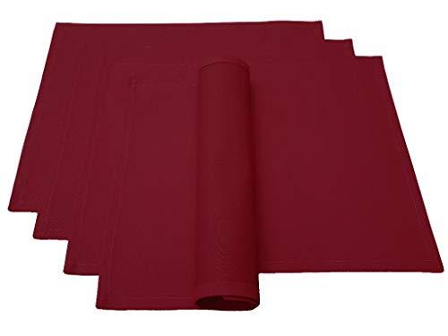 Lemos Home Juego de manteles Individuales, 4 Unidades, Aprox. 46 x 36 cm de algodón, Muchos Colores (Rojo Vino)