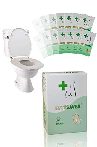 BUTTSAVER Basic - NEU - 20x Einweg-Toilettensitz-Auflagen einzeln verpackt - MADE in EU - Hygieneschutz aus Papier für unterwegs
