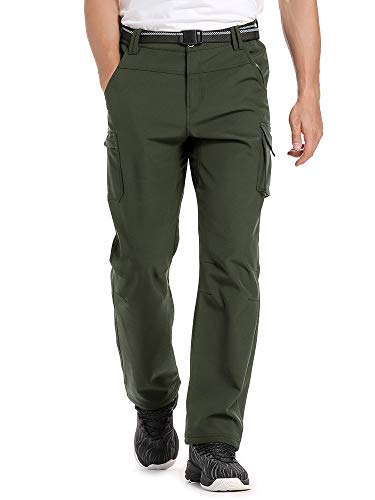 Jessie Kidden Hiking Pants Mens Waterproof Outdoor Fleece Lined Ski Snow Insulated Soft Shell Pants #6069-Army Green,40
