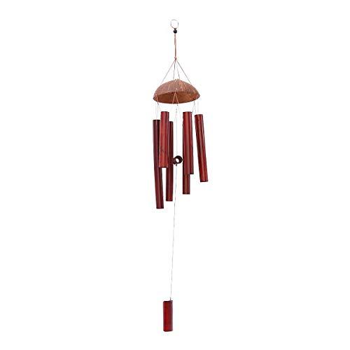 Windspiel für Draußen - Glockenspiel für Garten und Balkon - Holz Klangspiel mit Kokosnuss und tollem Klang - sorgt für eine beruhigende und entspannte Atmosphäre (Dunkel)