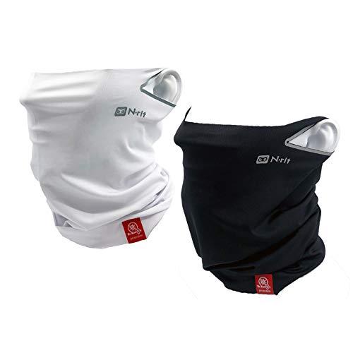 N-RIT Tube9 Cool X Ear Loop Cooling Neck Gaiter Breathable Bandanas Face Mask for Men Woman (Black&White)