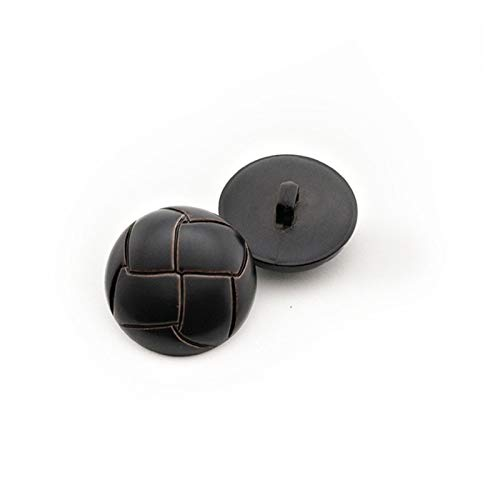 10 botones de plástico redondos de imitación de cuero para ropa, accesorios de costura decorativos para ropa, accesorios, decoración de pintura (color: negro, tamaño: 28 mm)
