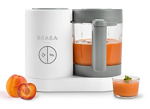 Béaba - Babycook Neo - Baby Food Maker - 4 in 1 : Food Processor, Blender and Cooker - Soft Steamer Cooking - Quick Homemade Baby Food - Glass Bowl - Stainless Steel Tub - Grey/White