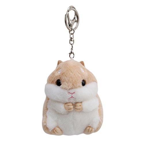 Ivyday Women Hamster Pendant Keychain Car Key Ring Purse Handbag Charm (Khaki)